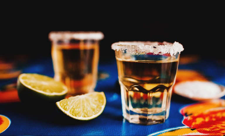 Mexican Tequila shot with lime and salt in Mexico