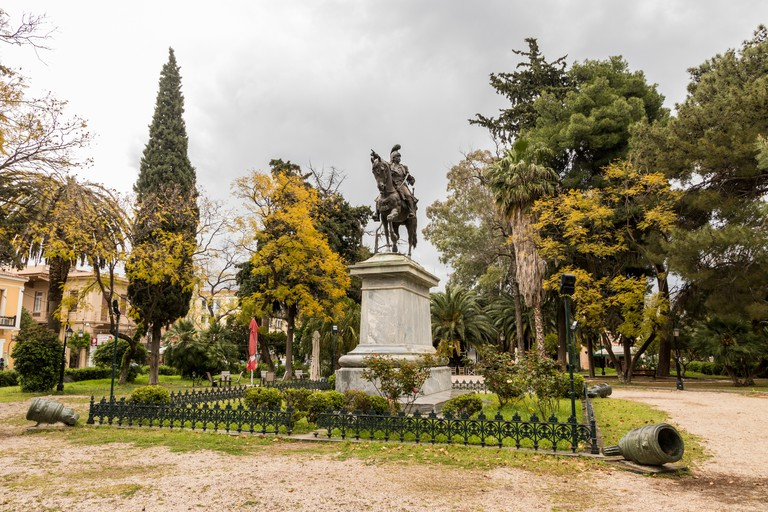 Nafplio, Greece. Statue of Theodoros Kolokotronis, Greek general and pre-eminent leader of the Greek War of Independence against the Ottoman Empire