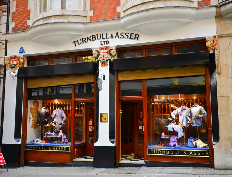 Exterior of Turnbull & Asser shop Royal Warrant shirt maker, Bury St, London SW1. Image shot 2014. Exact date unknown.