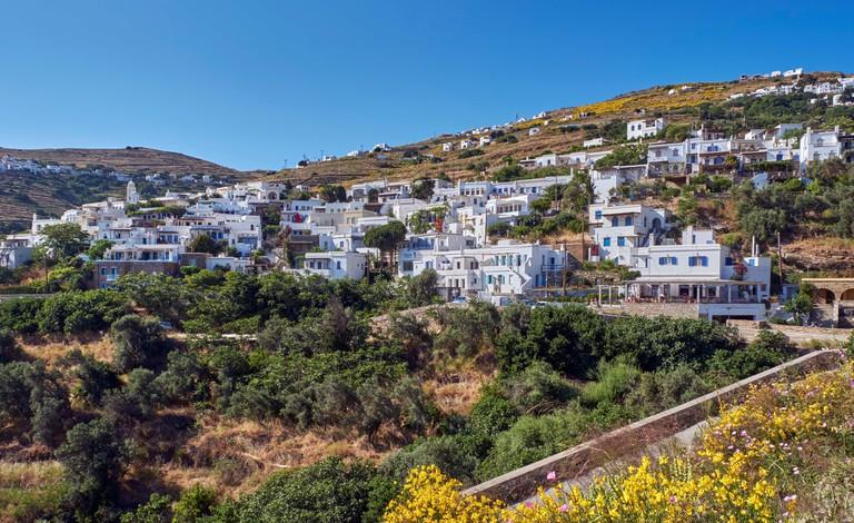White houses in the village of Triandaros. Tinos, Greece.