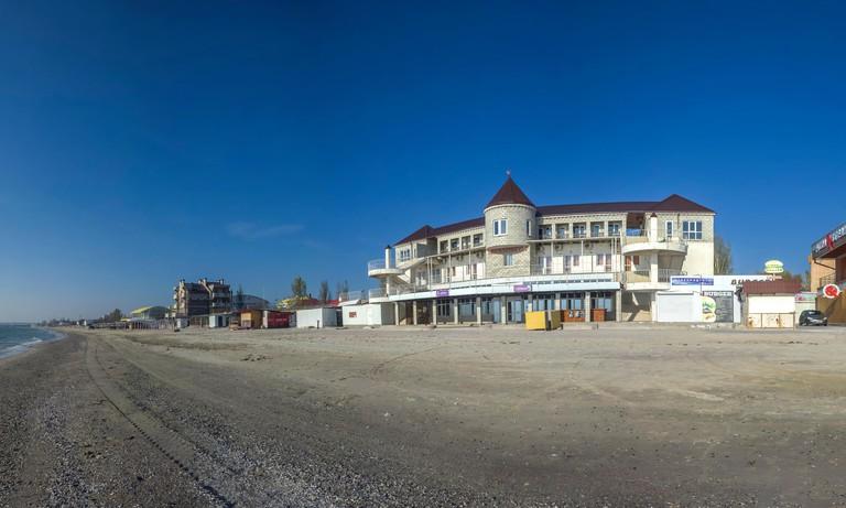 Koblevo, Ukraine - 10.11. 2019.  Deserted autumn beach at the Black Sea resort in the village of Koblevo, Ukraine