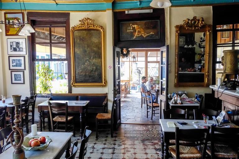 Kafeneio Ermis. The Oldest cafe in Mytilini, Lesbos, Greece