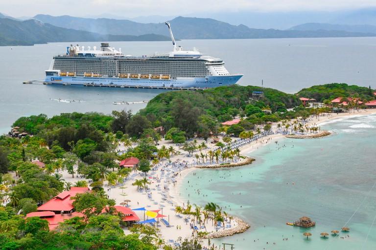 Caribbean cruise ship - Royal Caribbean Anthem of the Seas in port in Labadee Haiti - cruise ship port - cruise ship holiday - cruise ship vacation