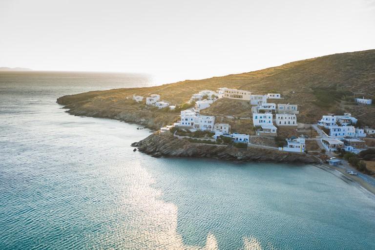 Aerial view of Ormos Giannaki in Tinos Island, Greece