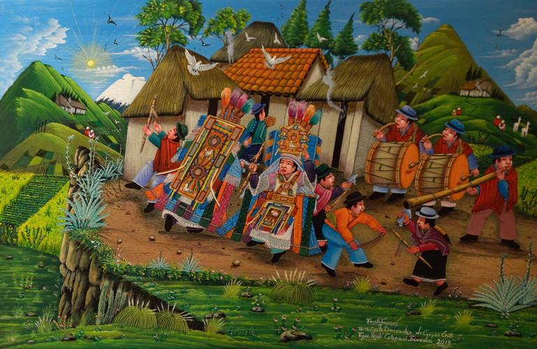 Painting of Ecuadorian natives playing music, Tianguez Cultural Center, Plaza de San Francisco, Quito, Ecuador