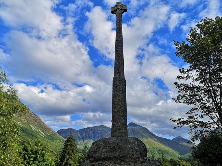 A view of a memorial commemorating the massacre of Glencoe in the Scottish Highlands.