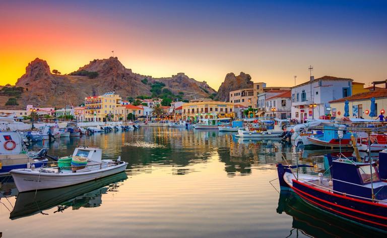 View of Myrina, Limnos island, Greece.