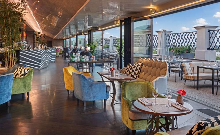 Large and stylish lounge at Grand Hotel Kempinski Riga