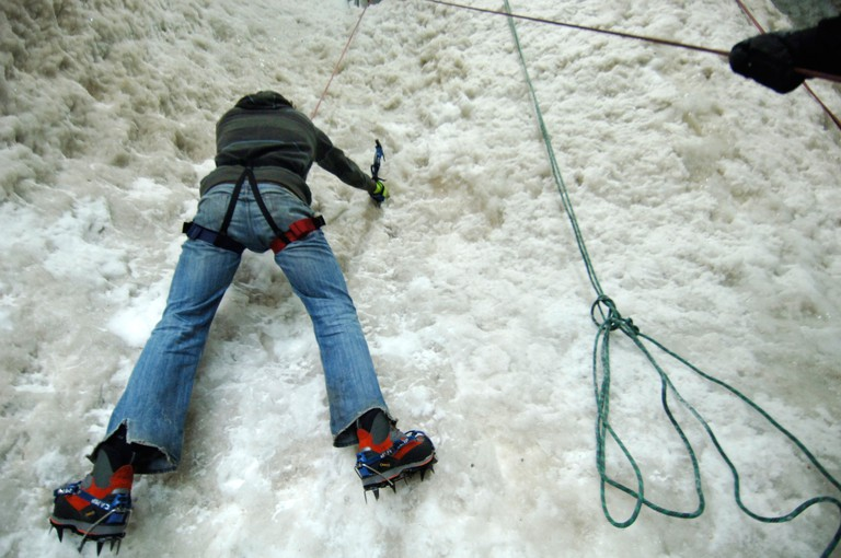 Ice Wall climbing at the Ice Factor indoor arena in Kinlochleven Scotland 14 03 2008. Image shot 2008. Exact date unknown.