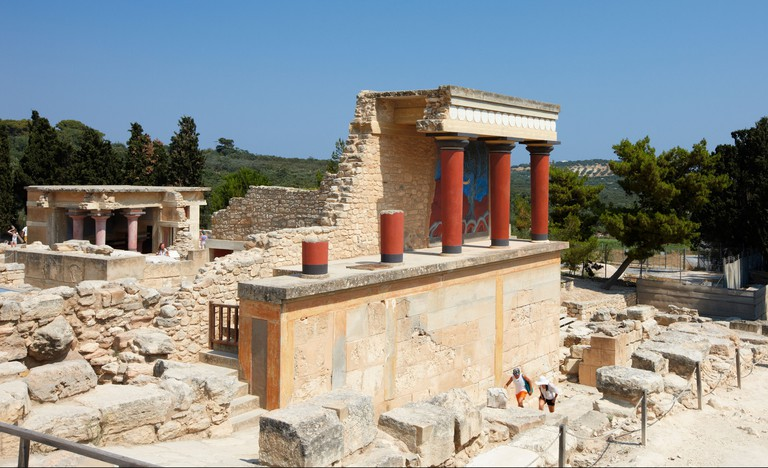 The North Propylaeum in the Knossos Palace. Crete island, Greece.