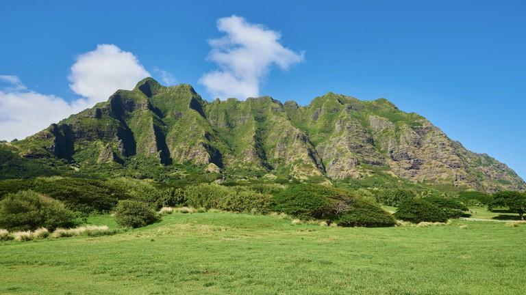 Landscape of Kualoa Ranch & Zipline, Oahu Island, Oahu, Hawaii, Aloha State, USA