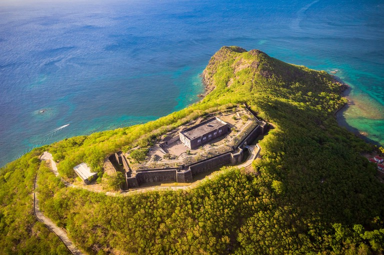 France,Caribbean,Lesser Antilles,Guadeloupe,Les Saintes,Terre-de-Haut,Aerial view of Fort Napoleon (aerial view)
