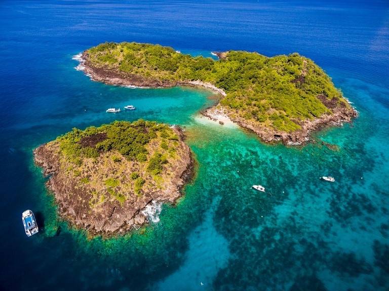 France,Caribbean,Lesser Antilles,Guadeloupe,Basse-Terre,Bouillante,aerial view of the Pigeon islands,in the heart of the Cousteau natural reserve in Malendure,high place of scuba diving of the archipelago (aerial view)