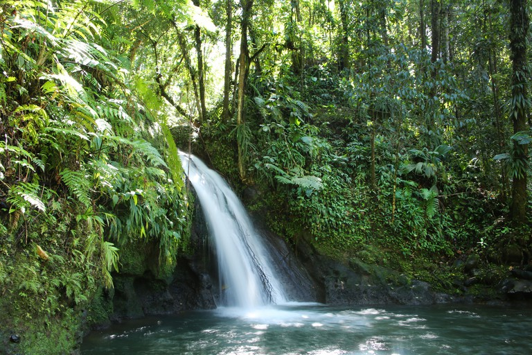 Crayfish Waterfall or La Cascade aux Ecrevisses, Guadeloupe National Park, Guadeloupe, French West Indies.
