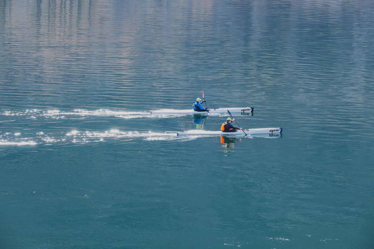 Scotland Loch Leven Two men on a lake in a kayak