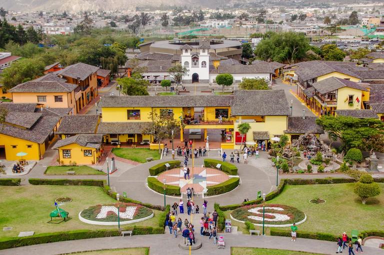 San Antonio de Pichincha, Pichincha, Ecuador - May 29, 2018: Aerial outdoor view of building inside of the Ciudad Mitad del Mundo turistic center near of the city of Quito