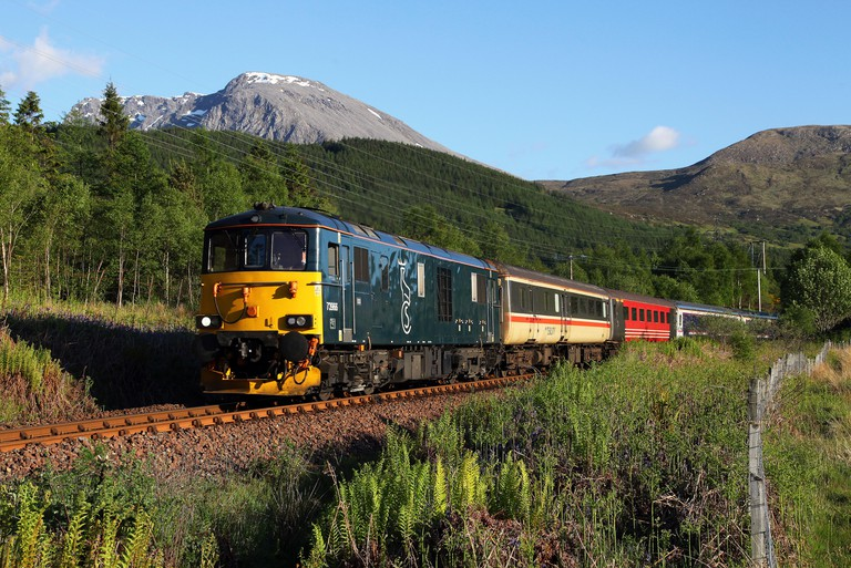 73966 heads past Torlundy with the Caledonian Sleeper service.