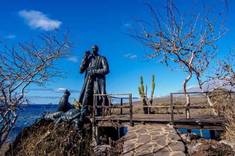 Charles Darwin Statue, Cerro Tijeretas, San Cristobal or Chatham Island, Galapagos, Ecuador