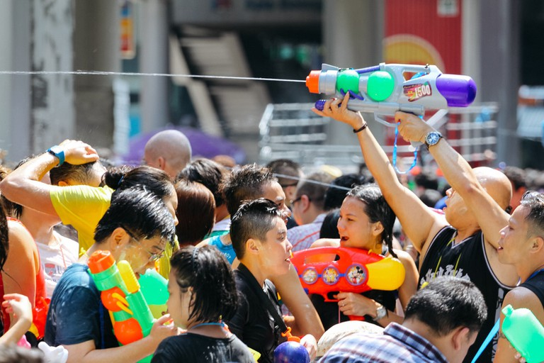 DURING WATER FIGHT-THAI NEW YEAR-SONGKRAN-BANGKOK-THAILAND