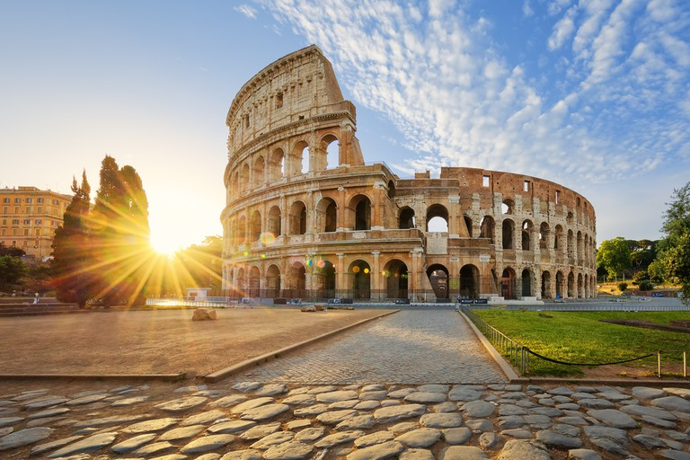 Colosseum in Rome and morning sun