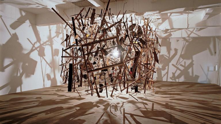 Cornelia Parker, Cold Dark Matter, An Exploded View, 1991