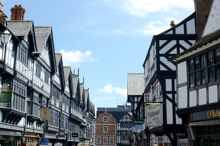 St. Werburgh Street next to Chester cathedral, Chester city centre, Cheshire, UK