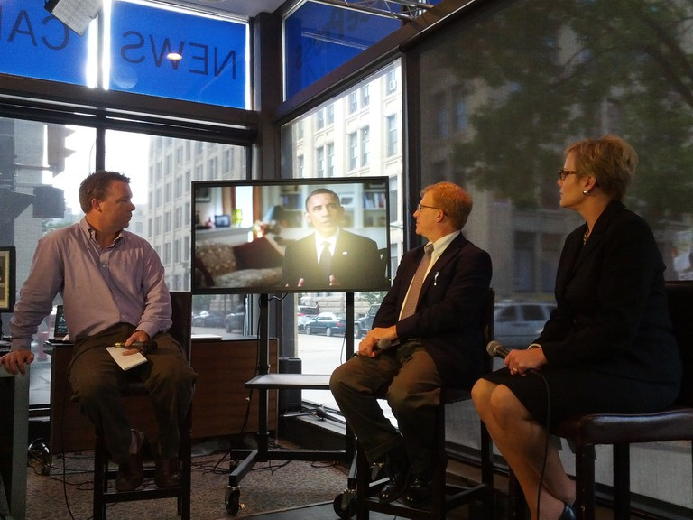 Linda Moore Forbes and Steve Grand with host Geoff Kirbyson at the WFP News Cafe