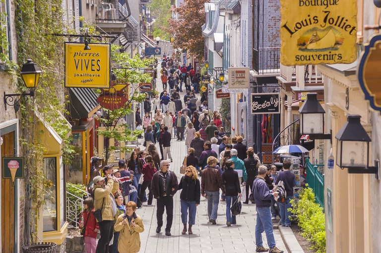 Petit Champlain Street, in Old Quebec City, Canada