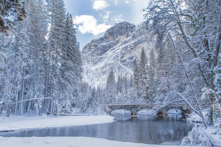 A winter scene with reflection at Yosemite national park, USA