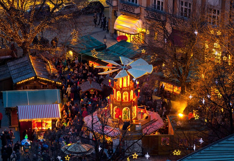 Typical wooden christmas carousel, Munich, Bavaria, Germany