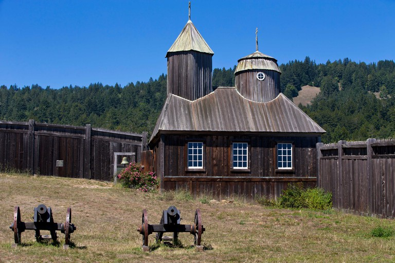 Cannons outside of Holy Trinity St. Nicholas Chapel, Fort Ross State Historic Park, Sonoma County, California, United States of