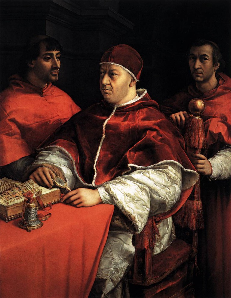 Raphael, 'Portrait of Pope Leo X with Two Cardinals'