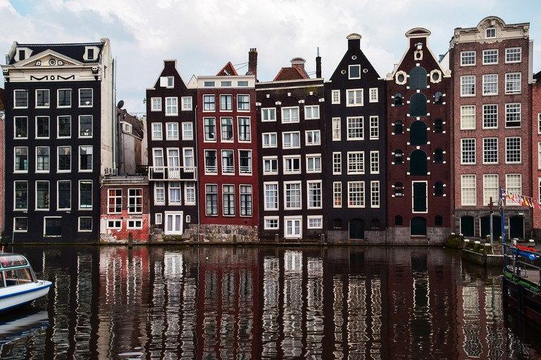 Typical canal houses in Amsterdam
