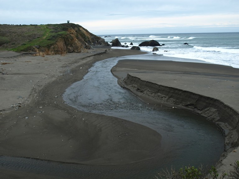 Fort Bragg, California Pudding Creek flowing into the Pacific Ocean