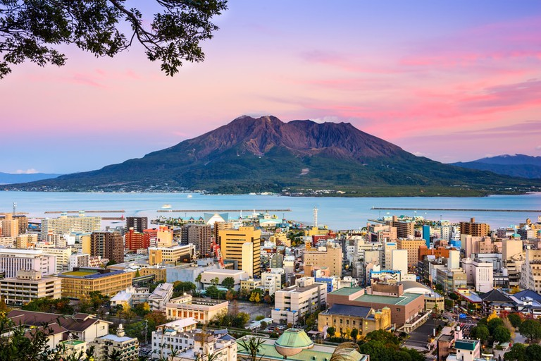 Kagoshima City sitting in the shadow of Sakurajima Volcano