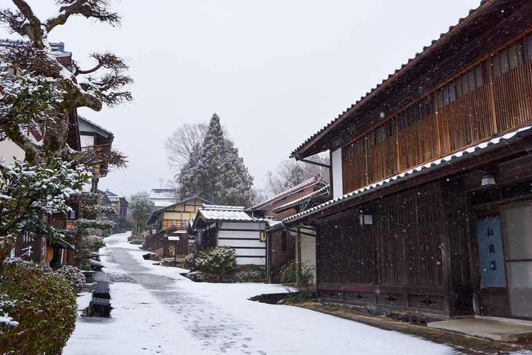 Pathway through Magome village in winter