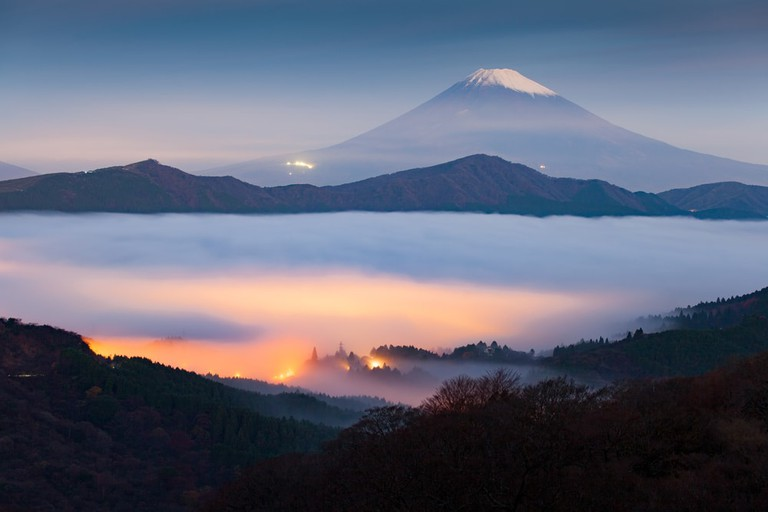Mt Fuji and fog over Lake Ashi and Hakone