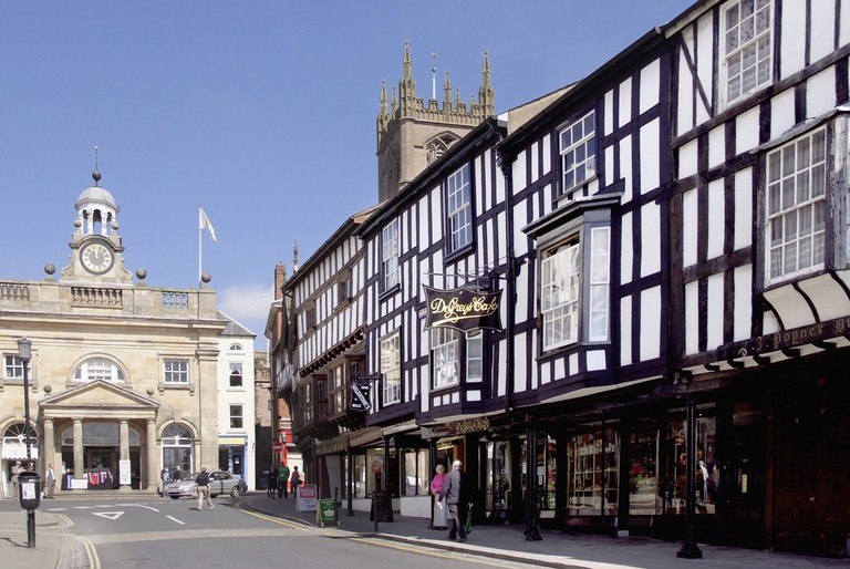 Old historic streets of Ludlow, a traditional market town in the UK