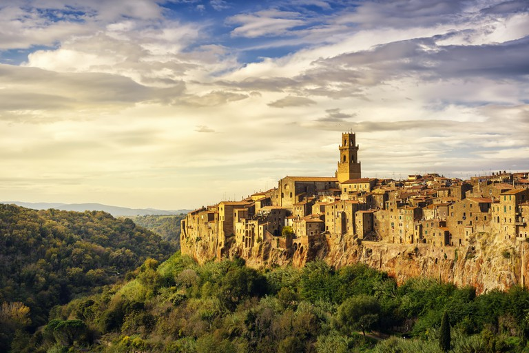 The Tuscan sun hitting the medieval village of Pitigliano