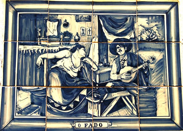 Tiled fado mural