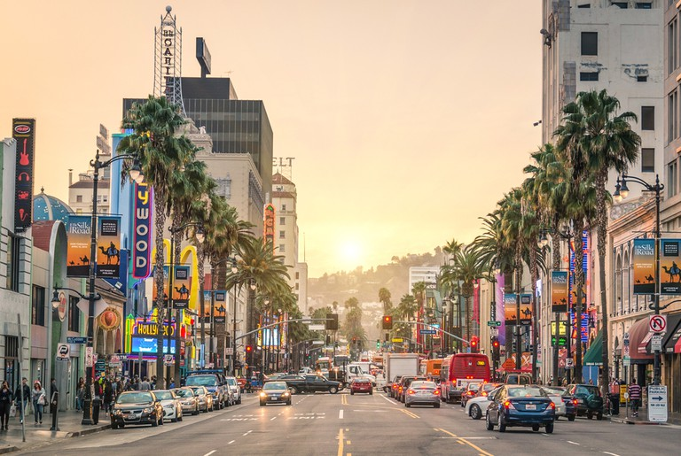 Hollywood Boulevard at sunset