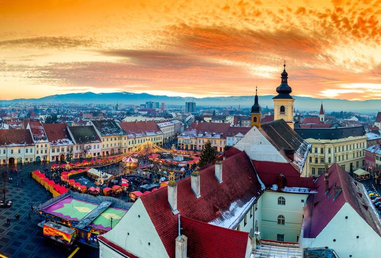 Sibiu central square in Transylvania, Romania