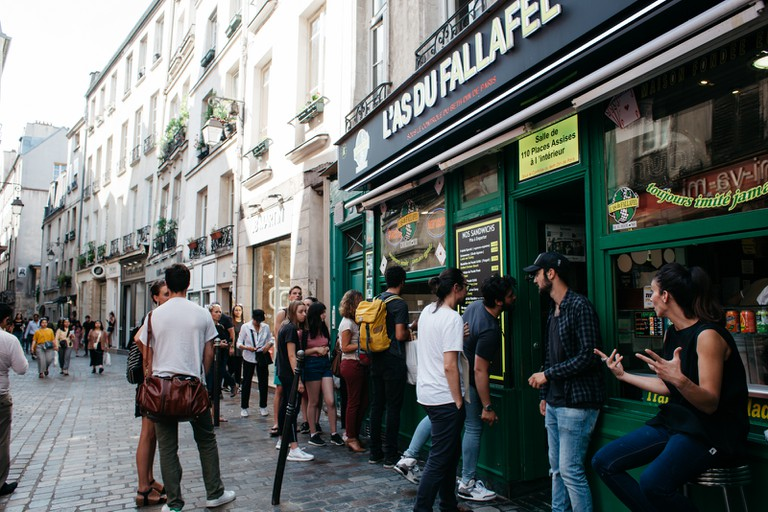 L'As du Fallafel is a popular place to eat on the Rue des Rosiers