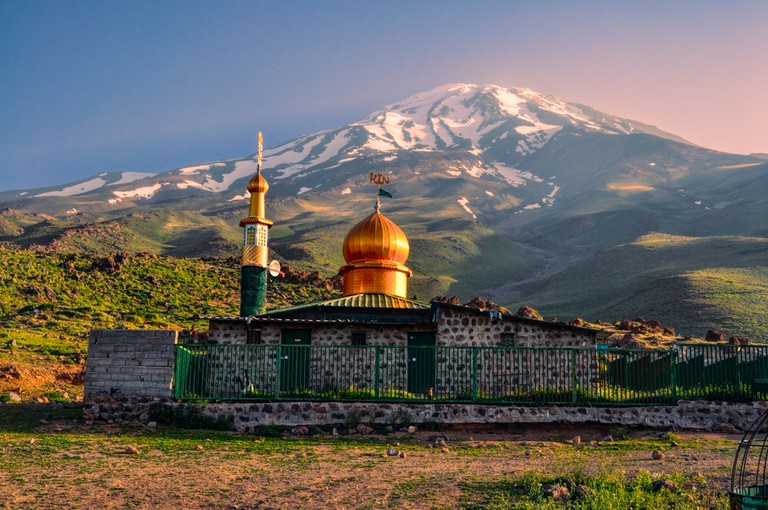 Picturesque mosque underneath volcano Damavand, highest peak in Iran | ©Michal Knitl/Shutterstock
