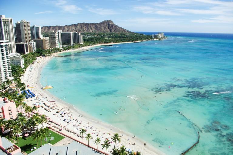 Waikiki Beach and Diamond Head, Honolulu, Oahu Island, Hawaii I