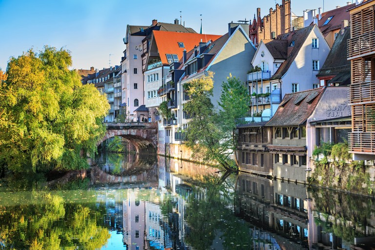 The riverside of Pegnitz river in Nuremberg town, Germany