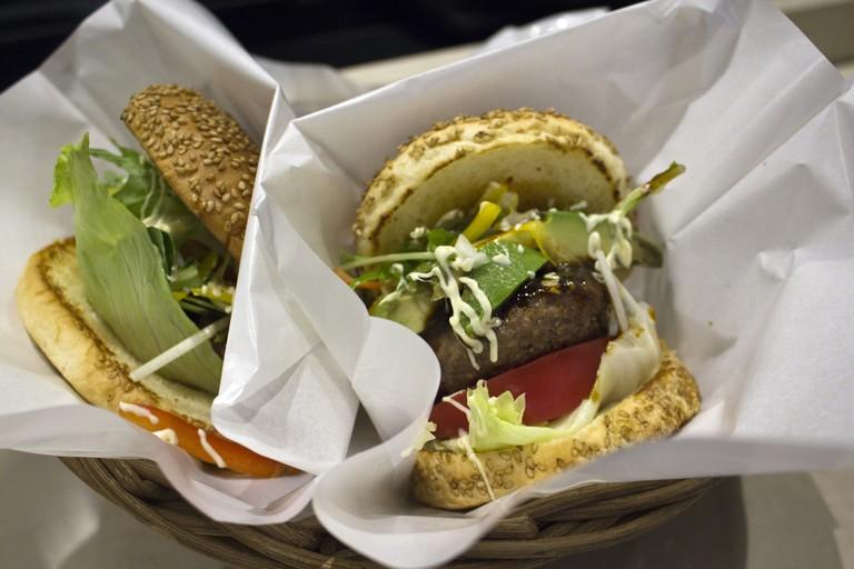 Kobe beef hamburgers at Gavly in Kyoto