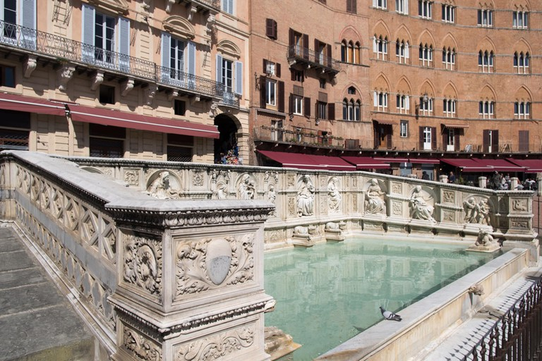 Fonte Gaia monumental fountain located in the Campo Square of Siena, Italy