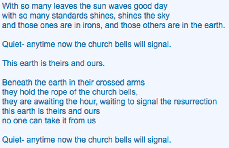 """from """"the church bells will signal"""""""