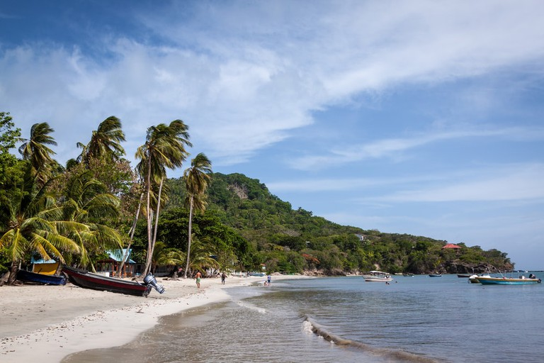 Beautiful white sand on Providencia, Colombia